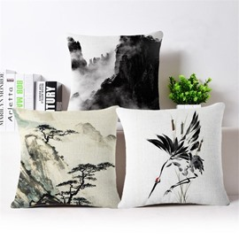 Excellent Ink and Wash Painting Square Throw Pillow