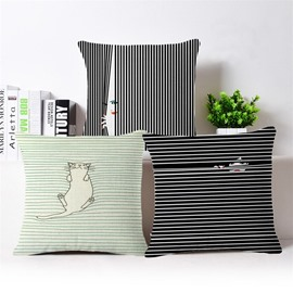 Modern Style Lovely Cat/Woman Print Square Throw Pillow