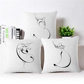 Concise Design Dancers Print Square Throw Pillowcase