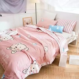 Pretty Likable Bear Print Pink Cotton Air Conditioner Quilt