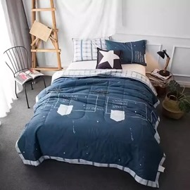 Simple Design Navy Lightweight Cotton Air Conditioner Quilt