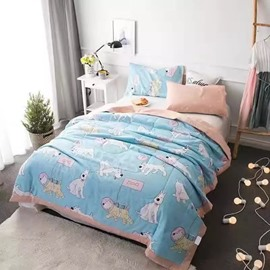 Adorable Cartoon Dog Print Cotton Air Conditioner Quilt
