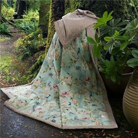 Peacock and Jacobean Pattern Print Tencel Lightweight Quilt