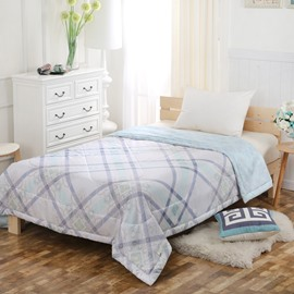 Plaid Reactive Printing Modern Style Tencel Lightweight Quilt