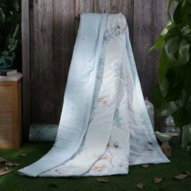 Flowering Plum Print Pastoral Style Tencel Lightweight Quilt