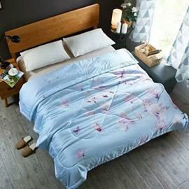 Pink Magnolia Print Blue Tencel Lightweight Quilt
