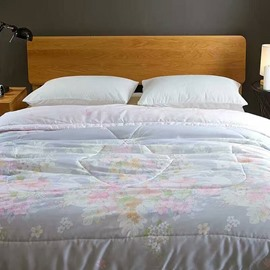 Floral Print Pastoral Style Soft Tencel Lithweight Quilt