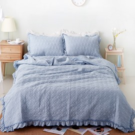 Stringy Selvedge Gray Cotton 3-Piece Bed in a Bag