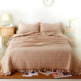 Solid Color Stringy Selvedge Cotton 3-Piece Bed in a Bag