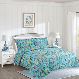 Pastoral Style Blooms Print Blue Cotton 3-Piece Bed in a Bag