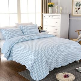 Blue ChevronPrint Soft Cotton 3-Piece Bed in a Bag