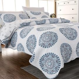 Blue MedallionPrint Cotton 3-Piece Bed in a Bag