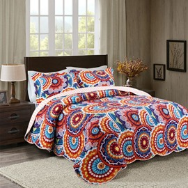 Bohemian Style Medallion Print Patchwork Polyester 3-Piece Queen Size Bed in a Bag