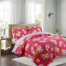 Lilies Print Red Polyester 3-Piece Bed in a Bag