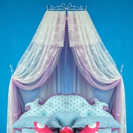 Princess Style Double Lace Light Purple Bed Canopy