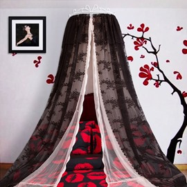 Princess Crown Design Double Lace Black Bed Canopy
