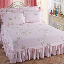 Pastoral Style White Magnolia Print Soft Cotton Bed Skirt
