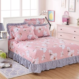 Princess Style White Magnolia Print Cotton 3-Piece Bed Skirt