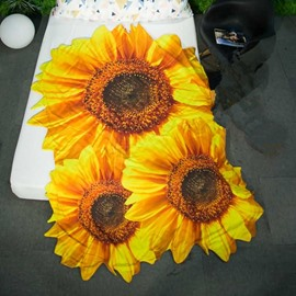 3D Sunflower Design Pastoral Style Soft Polyester Quilt