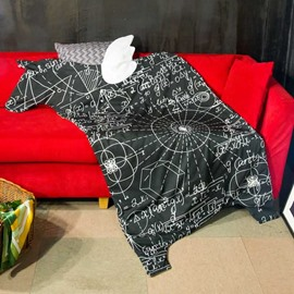 Geometric Pattern Print Horse-Shaped Black Polyester Soft Quilt