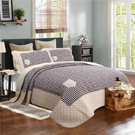 Brown Plaid Printed Patchwork Cotton 3-Piece Bed in a Bag