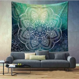 Gradient Mandala Printed Ethnic Style Green Decorative Hanging Wall Tapestry