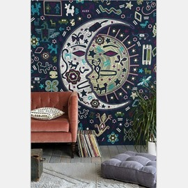Tribal Moon and Sun Prints Bohemian Style Hanging Wall Tapestry