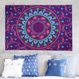 Palm Tree and Pineapple Mandala Prints Purple Hanging Wall Tapestry