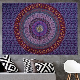 Gradient Purple Mandala Pattern Bohemia Style Hanging Wall Tapestries