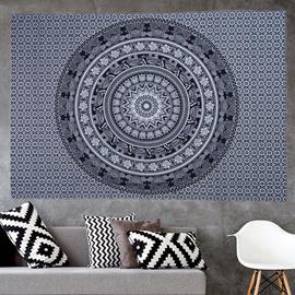 Grey Mandala Pattern Ethnic Style Wall Tapestries
