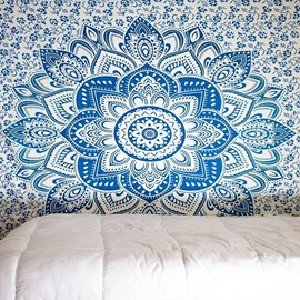Light Blue Lotus Flower Pattern Ethnic Style Wall Tapestries
