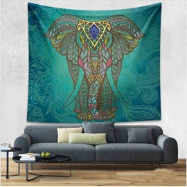 Big Elephant Pattern Ethnic Style Dark Green Hanging Wall Tapestries
