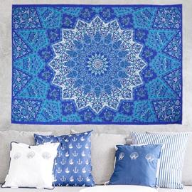 Blue Gradient Mandala Pattern Ethnic Style Wall Tapestries