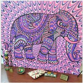 Purple Elephant Linear Pattern Boho Style Wall Tapestries