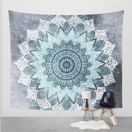 Shallow Blue Lotus Flower Pattern Ethnic Style Wall Tapestries