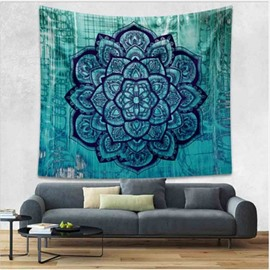 Dark Green Lotus Flower Pattern Ethnic Style Wall Tapestries