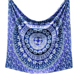 Blue Mandala Pattern Ethnic Style Polyester Wall Tapestries