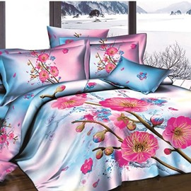 3D Rosy Plum Blossom Printed Cotton Fitted Sheet