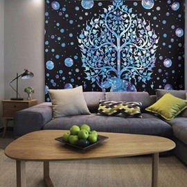 Silver Elephant and Tree Pattern Ethnic Style Wall Tapestries