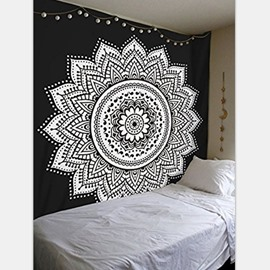 Black and White Mandala Pattern Ethnic Style Wall Tapestries