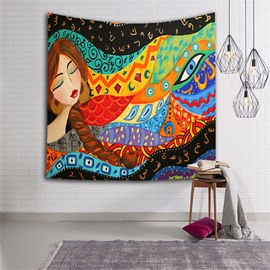 Sleeping Girl with Long Braid Ethnic Style Hanging Wall Tapestries