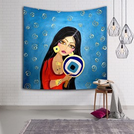 Black Long Hair Sexy Girl with Fan Ethnic Style Hanging Wall Tapestries