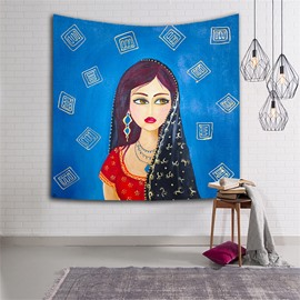 Black Hair Girl Squinting Blue Ethnic Style Hanging Wall Tapestries