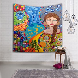 Brown Hair Girl Keeping Eyes Closed Ethnic Style Hanging Wall Tapestries
