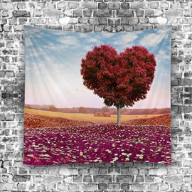 Love Shape Red Burgundy Tree Hanging Wall TApestries