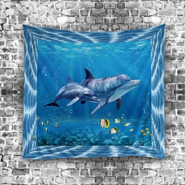 Two Sharks Wandering in Seabed 3D Printed Hanging Wall Tapestries