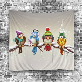 3D Four Cartoon Birds and Snow Sweet Style Hanging Wall Tapestries