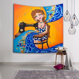 Blond Hair Girl Sewing and Singing Ethnic Style Hanging Wall Tapestries