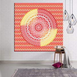 Yellow and Orange Red Mandala Pattern Ethnic Style Hanging Wall Tapestries