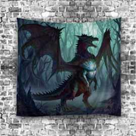 3D Dinosaur and Forest Digital Printing Hanging Wall Tapestries